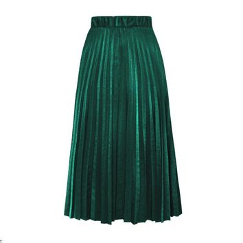 2017 new autumn Pleated Velvet skirts winter Style Tulle Maxi Skirt Women High Waist Fashion Girls Elastic long Skirts