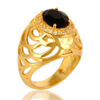 18K Yellow Gold Over Sterling Silver Black Onyx And White Topaz Prong Set Ring
