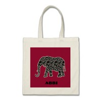 Personalized Black and White Swirl Elephant Budget Tote Bag