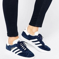 adidas Originals Navy Suede Gazelle Unisex Trainers at asos.com
