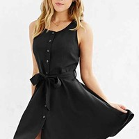 Cooperative Button-Front Tied Waist Dress- Black