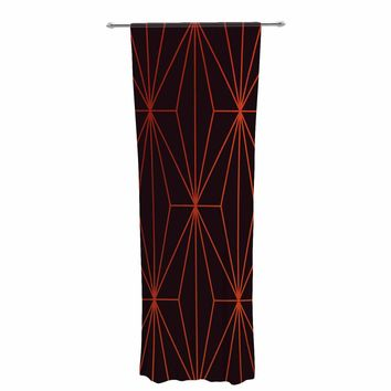 "Pia Schneider ""PASSIONATE GOLD GEOMETRICAL"" Gold Maroon Pattern Geometric Vector Digital Decorative Sheer Curtain"