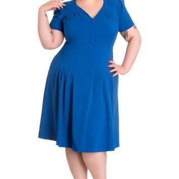 Hell Bunny Plus Size 40's Vintage Style Office Lady Moira Tea Dress