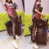 DCCK6HW Adidas' Fashion Casual Multicolor Clover Letter Snake Print Stitching Gauze Mini Dress Set Two-Piece Sportswear