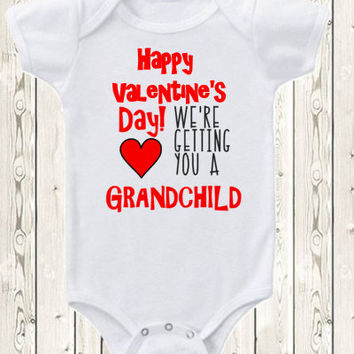 Valentine's Day Pregnancy Announcement Idea  for grandparents, grandma and grandpa, Onesuit ® brand bodysuit or shirt Pregnancy reveal idea