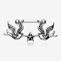 A Pair of Freedom Doves Nautical Star Nipple Barbell Ring