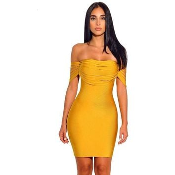 Sexy  Bandage Yellow Off the Shoulder Bodycon Dress