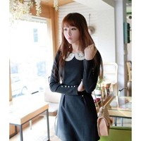 Long Sleeve Puff Sleeve Scoop Women Autumn New Style Korean Style Laciness Slim Dark Blue Cotton Dress S/M/L @WH0406dbl $16.27 only in eFexcity.com.