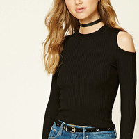 Ribbed Open-Shoulder Top
