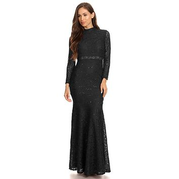 Long Sleeve Lace Full Length Dress Black Mock 2 Piece High Neck