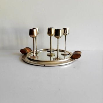 Liquor, service, set of 6, art deco, french vintage, silver plated, metal cups, metal, wood, serving tray, vintage tray, metal, shabby chic