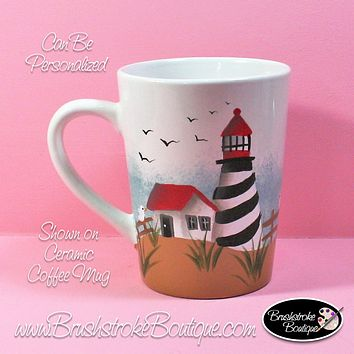 Hand Painted Coffee Mug - St Augustine Lighthouse - Original Designs by Cathy Kraemer