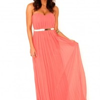 Missguided - Abelone Bandeau Pleated Maxi Dress In Coral