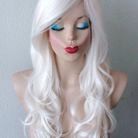 White wig.  white curly  hair side bangs hairstyle Durable wig for cosplay and daily use.