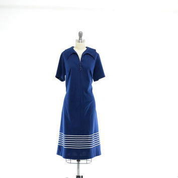 1970s Navy Plus Size Dress- Striped V Neck Day Shift Vintage 70s - XL XXL 1X