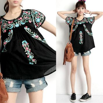Cute Black Mexican Boho Traditional Floral Embroidered Blouse Shirt