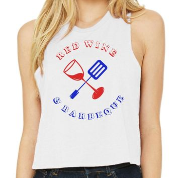 Red Wine and BBQ Tank Top Racer Crop