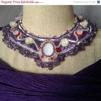 ON SALE Bead Embroidered Collar- Opalite Cabachon