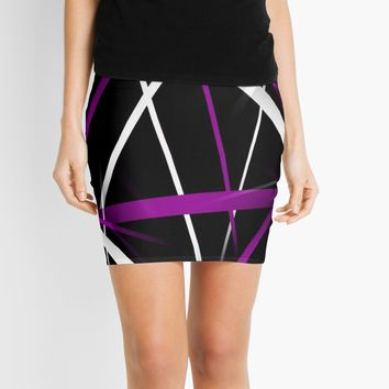 'Seamless Purple and White Stripes on A Black Background' Mini Skirt by taiche