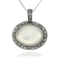 Sterling Silver Marcasite and Mother-Of-Pearl East West Oval Pendant, 18""