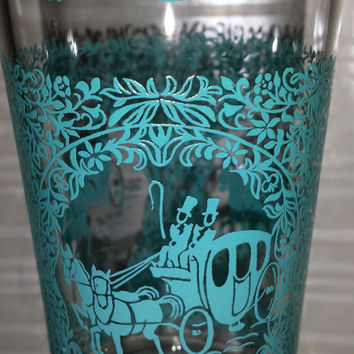 Glass kitchen Hazel Atlas Glass  Tumblers Glassware set 6   Turquoise blue  Monticello Glasses Gold carriage Glass