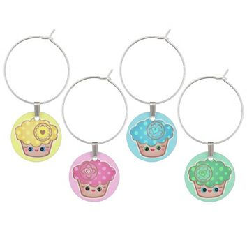 Cute Colorful Kawaii Cupcakes Set of Wine Charms