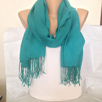 Green Scarf -  Kelly Green Wedding Scarf - Pashmina - Bridesmaid Scarf Gift