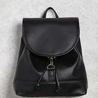 Faux Leather Buckle Backpack