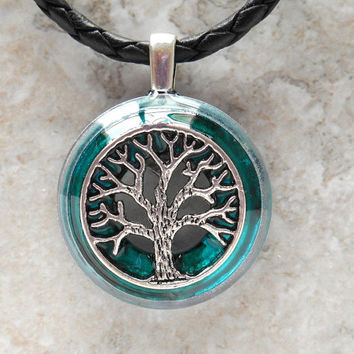 tree of life necklace: teal - mens jewelry - celtic jewelry - mens necklace - boyfriend gift - leather necklace - unique gift - wiccan