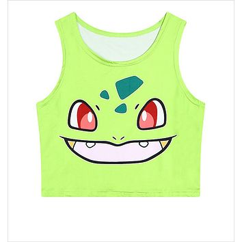 Women's Squirtle Pikachu AA style Bustier Crop Top Sexy Sport Camisole 3D Bulbasaur Pokemon cartoon Print cropped Top