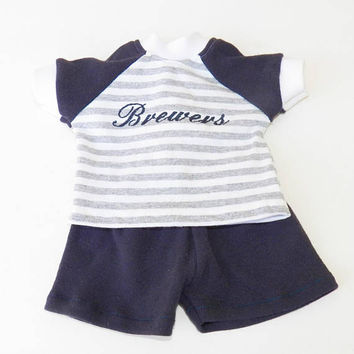 """bitty baby clothes, boy or girl or 15"""" twin doll, game day, baseball, milwaukee fan, grey white navy, shorts, t shirt, adorabledolldesigns"""