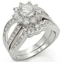 Stunning Rhodium CZ Wedding Ring Set