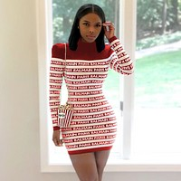 BALMAIN Women High collar Long Sleeve Bodycon Dress red