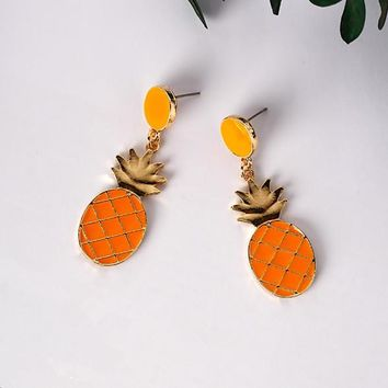 2017 Trendy Lovely Drop Oil Earrings For Women Cute Fruit Vegetable Lemon Shape Dangle Earrings Funny Fashion Accessories