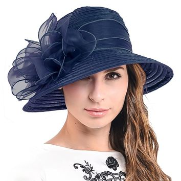 HISSHE Women Kentucky Derby Hat  Ladies Church Dress Tea Party Hat For Black Women Summer Hat