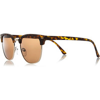 River Island MensBrown tortoise shell retro sunglasses