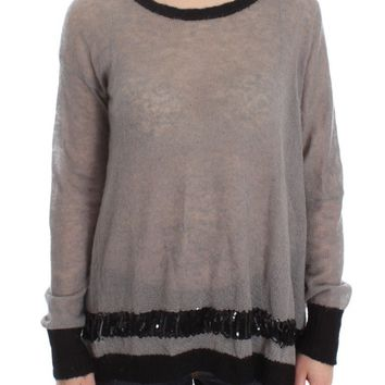 Gray Knitted Embellished Sweater