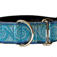 Martingale Collar: Blue Mosaic Crests (1.5 Inch), Dog Collar, Greyhound Collar, Custom Dog Collars, Greyhound Martingale