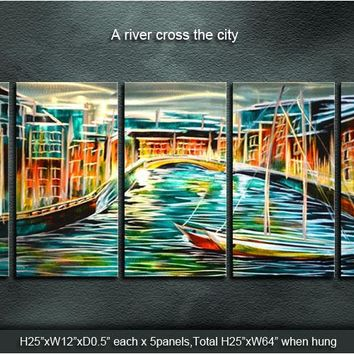 Art Abstract  A river cross of the city/ Harbor Center In Love's Arms Sculpture Original Modern Metal Wall Indoor Outdoor Decor