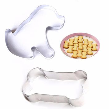 2pcs/set Dog & Bone Print Cookie Cutters