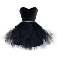 Charming Sweetheart Black Mini Organza Prom Dress