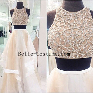 Two Piece Prom Dresses, Two Piece Prom Dress, Two Piece Long Prom Dresses