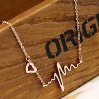 Fashion Gold ECG necklace