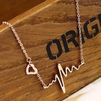 Gold ECG pendant necklace