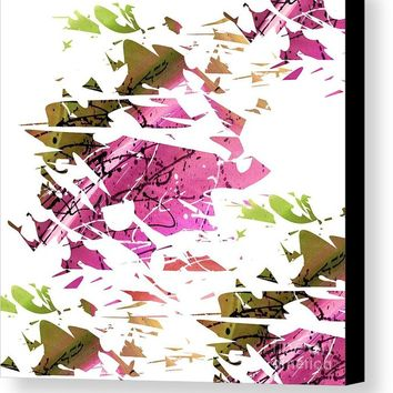 Abstract Acrylic Painting Broken Glass Purple And Green Canvas Print