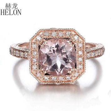 HELON 1.63ct Pink Morganite 8mm Round Pave 0.2ct Diamonds Solid 14K Rose Gold Engagement Wedding Fine Ring For Women's Jewelry