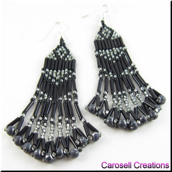 Sweetheart of the Southwest Native American Style Beadwork Seed Bead Earrings in Black and Gray