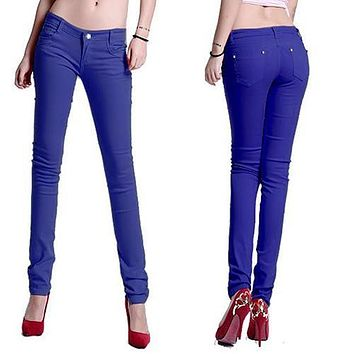 Newest Women Candy Color Casual Skinny Jeans Pencil Pants Stretchy Jeans