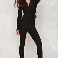 Swank Us Later Tux Jumpsuit