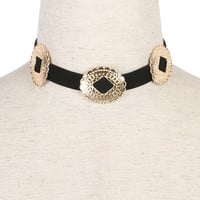 Golden Metal Buckle Choker Necklace